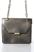 Coccinelle Pewter Gray Gold Tone Chain Foldover Structured Crossbody Handbag