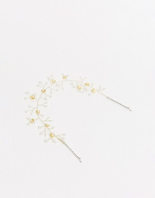 ASOS DESIGN headdress with flower and bead detail in silver