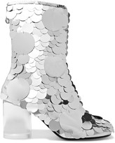 Maison Margiela Paillette-embellished Textured-leather Ankle Boots - Silver