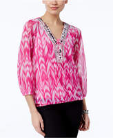 INC International Concepts Petite Printed Lace-Up Peasant Top, Created for Macy's