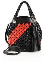 Sonia Rykiel Two-Tone Woven Leather Top-Handle Bag