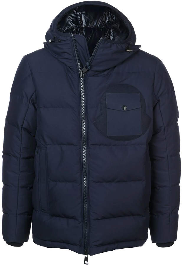 Moncler fitted puffer jacket blue