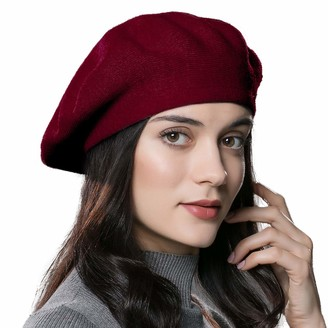 ENJOYFUR Womens Winter Beret Hat Knitted Beanie Cap Autumn Winter Hat French Classic Beret - Red - One Size