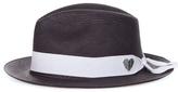 SENSI STUDIO Panama Hat With Heart Embroidered Ribbon