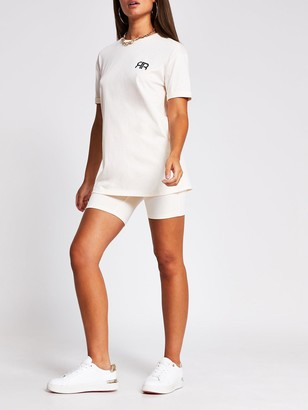 River Island Turnback Sleeve Branded T-shirt - Neutral