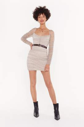 Nasty Gal Womens Really Hit the Spots Mesh Ruched Dress - Beige - 12