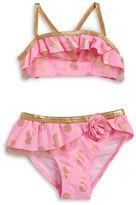 Flapdoodles Girls 2-6x Little Girls Metallic Pineapple Bikini Set