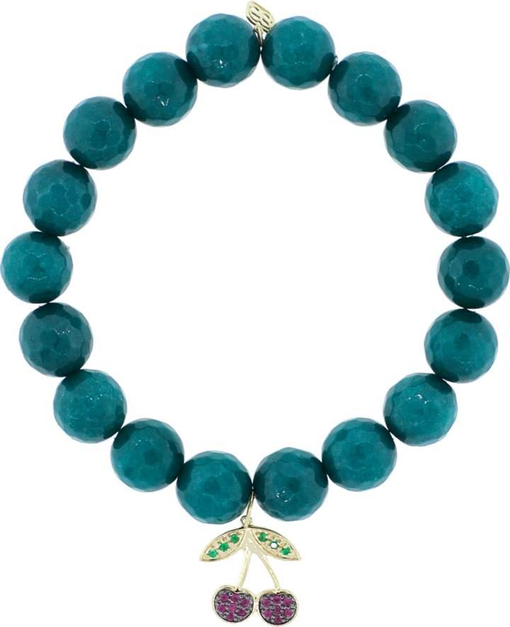 Sydney Evan Ruby And Emerald Cherry Charm Bracelet