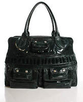 Pollini Dark Green Patent Leather Large Multi Pocket Satchel Handbag