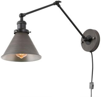 LNC 1-Light Wall Sconce Plug-in Adjustable Black Silver Brushed Light