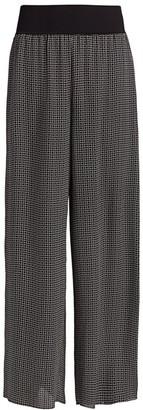 Theory Geometric-Print Wide-Leg Silk Pants