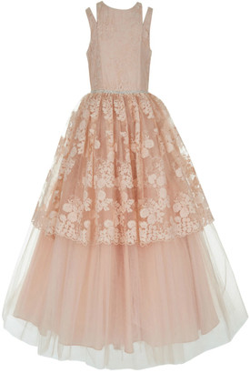 Badgley Mischka Kid's Kid's Split Shoulder Lace Tulle Tiered Gown, Size 7-14