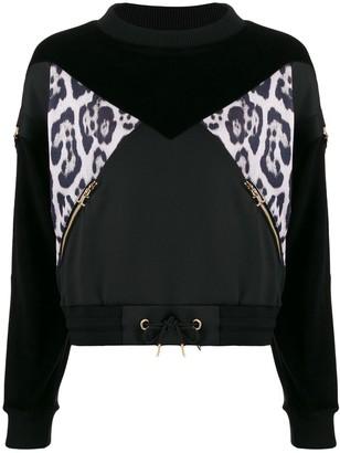 Just Cavalli Leopard Print Panel Sweatshirt