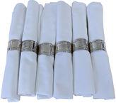 One Kings Lane Vintage Linen Napkins w/ Silver Plate Rings, S/6