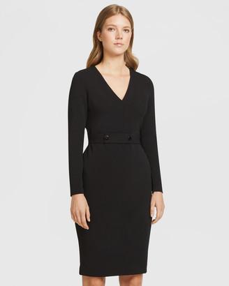 Aris Long Sleeve Snap Belt V-Neck Dress