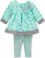 Green & Gray-Trim Top & Leggings - Girls
