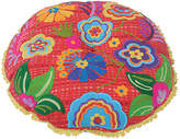 Karma Living Red Floral Embroidered Round Cushion