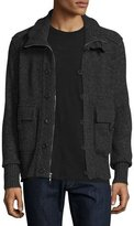 Neiman Marcus Cashmere Button-Zip Cardigan Jacket, Derby Gray/Black