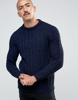 Pull&bear Cable Knit Jumper In Navy