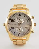 Asos Gold Plated Bracelet Watch With Subdials