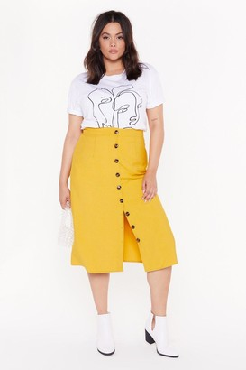 Nasty Gal Womens Let'S Get Button-Down To Business Plus Midi Skirt - Yellow - 16, Yellow