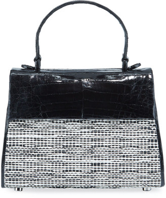 Nancy Gonzalez Lexi Small Croc/Raffia Top-Handle Bag