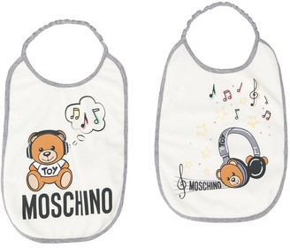 MOSCHINO BAMBINO Teddybear Logo Print Bibs