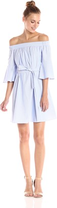 Donna Morgan Women's Off Shoulder Bell Sleeve Poplin Dress with Inverted Pleat