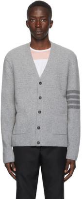Thom Browne Grey Cashmere 4-Bar Variegated Cardigan