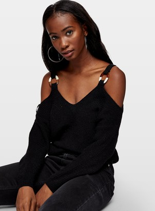 Miss Selfridge Black O Ring Cold Shoulder Jumper
