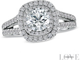 Zales Vera Wang LOVE Collection 2 CT. T.W. Diamond Frame Split Shank Engagement Ring in 14K White Gold