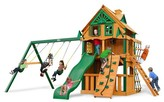 Gorilla Playsets Chateau Clubhouse Treehouse Swing Set with Fort Add-On & Timber Shield