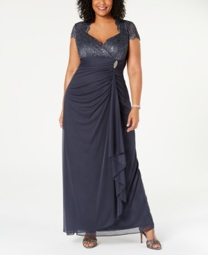 Betsy & Adam Plus Size Sequined-Lace Ruched Gown