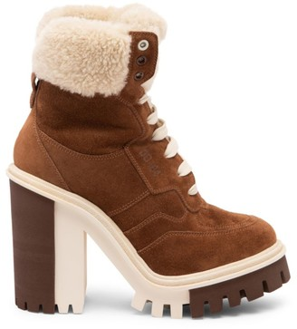 Dolce & Gabbana Lug-Sole Shearling-Lined Suede Hiking Boots