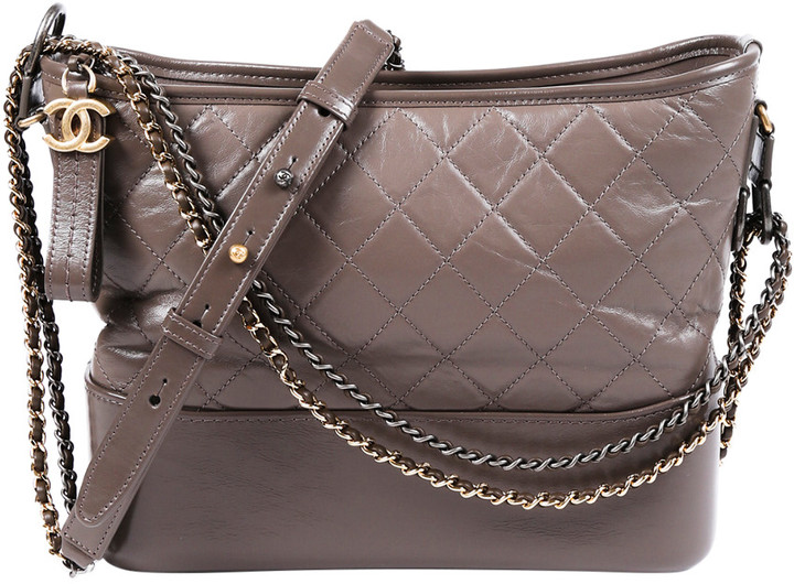 Chanel Gray Quilted Leather Medium Gabrielle Hobo Bag