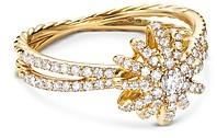 David Yurman Pave Diamond Starburst Ring in 18K Yellow Gold