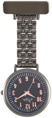 Bermuda Watch Company Annie Apple Rose Gold/Gunmetal Link Bracelet Nurse Fob Watch