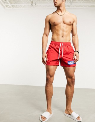 Replay side logo swim shorts in red