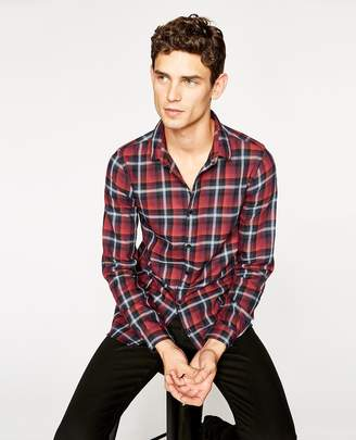 The Kooples Burgundy checked cotton shirt with round collar