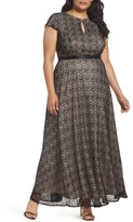Alex Evenings Plus Size Women's Belted Lace Keyhole Gown
