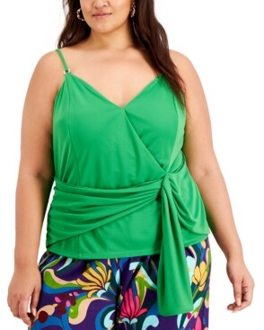 INC International Concepts I.n.c. Plus Size Wrap-Front Tank Top, Created for Macy's