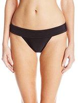 Vix Women's Solid Black Full Pala Matelasse Bikini Bottom
