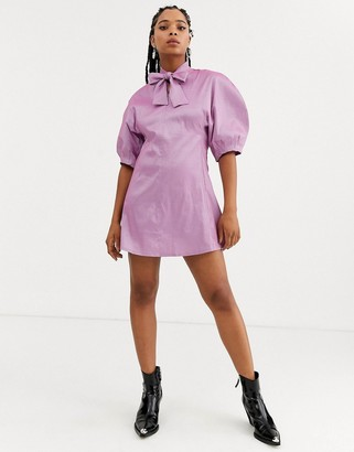 Sister Jane mini dress with bow collar and volume sleeves in taffeta-Purple