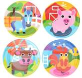 French Bull Farm Kids Round Plates (Set of 4)