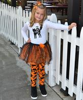 Beary Basics White & Black Glitter Cat Tee & Skirt - Toddler & Girls