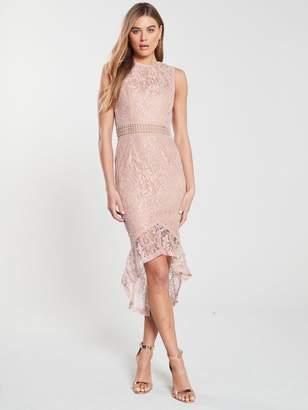 AX Paris Lace Dip Hem Bodycon Dress - Mushroom