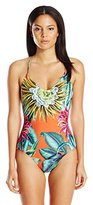 Mara Hoffman Women's Lace Up Back Maillot One Piece Swimsuit