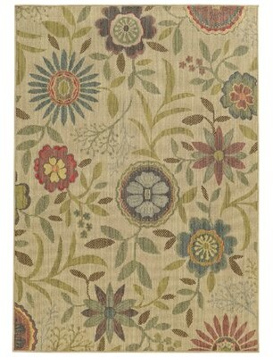 """Tommy Bahama Cabana Floral Beige/Blue/Red Indoor/Outdoor Area Rug Home Rug Size: Rectangle 6'7"""" x 9'6"""""""