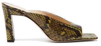 Wandler Isa Square Open-toe Snake-effect Leather Mules - Womens - Green