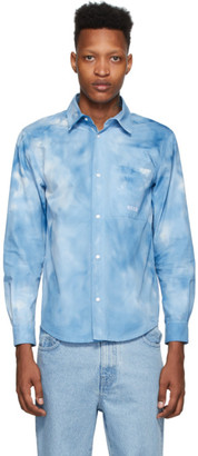 MSGM Blue Poplin Airbrushed Shirt